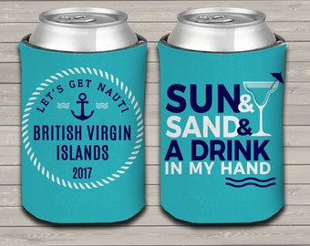 Nautical sun sand drink vacation can coolies beverage insulator - great for family and friends vacation MCC-001