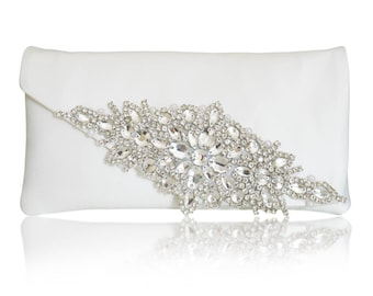 Diamante and ivory satin bridal wedding clutch purse HARRIET
