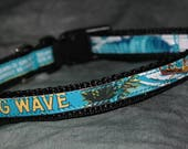 Adjustable Cat or Toy Dog Collar from Recycled Kona Brewing Big Wave Golden Ale Beer Labels