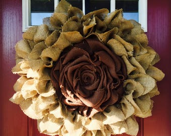 Flower Burlap Wreath, Burlap Wreath, Sunflower Wreath