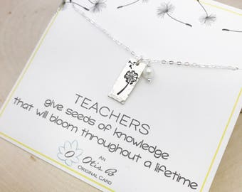 Teacher appreciation gift, teachers gift for her, dandelion, seeds of knowledge, Sterling silver, hand stamped, teacher thank you, Otis B