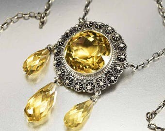 Antique Citrine Necklace | Victorian Necklace Pendant | Silver Cannetille Flower Necklace | Yellow Citrine Pendant November Birthstone