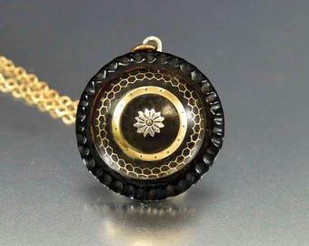 Victorian 14K Gold Pique Pendant Necklace | Antique Gold Pendant | Horn & Shell Silver Flowers | Honeycomb Necklace | Antique Fine Jewelry