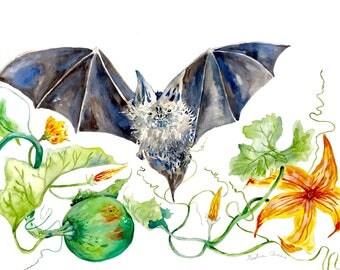 "Bat with Pumpkin Watercolor Print, Unusual Botanical, Bats, Animal Painting, Spooky Art, Early Halloween 8""x10"""