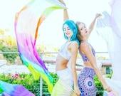 UV Prism Rainbow silk flow fans *please read details*