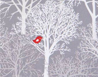 215817 grey Michael Miller fabric red bird animal Tree Woodland Winter