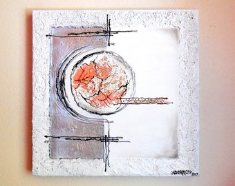 """Original Acrylic Abstract Painting...""""Suspended..."""" Textured Modern Painting...White Silver Copper Leaf Unique Wall Art..."""