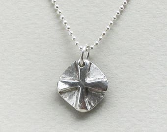 Rustic Cross in sterling on a silver ball chain