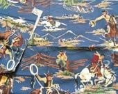 7 One Yard Western Cotton Fabic Cowboy on Bucking Bronco Blue Background 2- one yard Yellow Cowboy Fabric resevered for Denise
