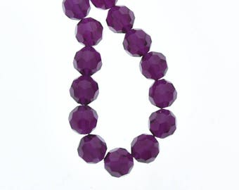 Acrylic Faceted beads, purple 10mm, 12inch strand, 08754.41