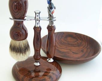 Cocobolo Wood Shaving Set:  26mm Silvertip Badger Brush, Fusion Flexball Razor, Wood Base Stand and Wood Shaving Bowl (Handmade in USA) C5