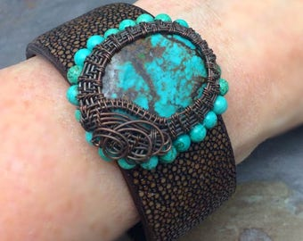 Turquoise Gemstone Wire Wrapped Leather Cuff Bracelet,Free Shipping, Made in the USA