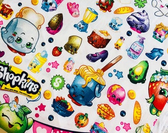 Shopkins Packed Party Toss White Cotton Woven sewing quilting fabric by the yard SC-16045