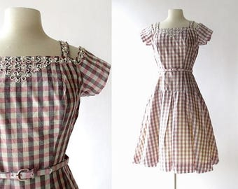 20% off sale Vintage 1950s Dress | Carousel | Gingham Dress | 50s Dress | S M