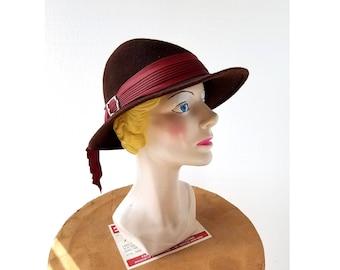 Vintage 1940s Fedora | 40s Tilt Hat | Women's Felt Fedora