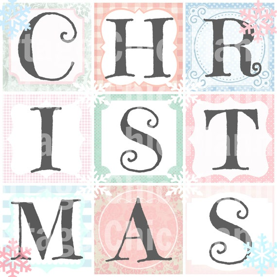Pastel Christmas Art Word Art Printable Framed Art or Banner Squares