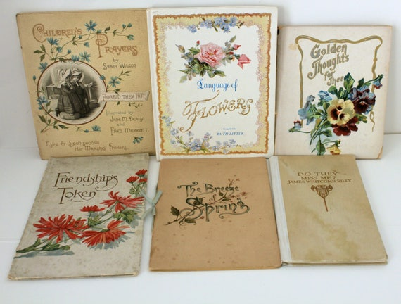 Six Antique Poetry and Prose Books, Small Illustrated Verse, Children's Prayer, James Whitcomb Riley, Flowers and Friendship