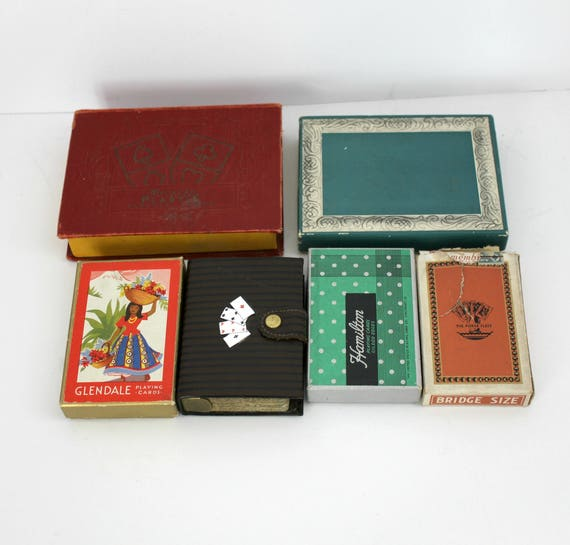Vintage Art Deco Playing Poker Cards Lot with Storage Boxes, Playing Cards, Congress, Glendale, Russell and More