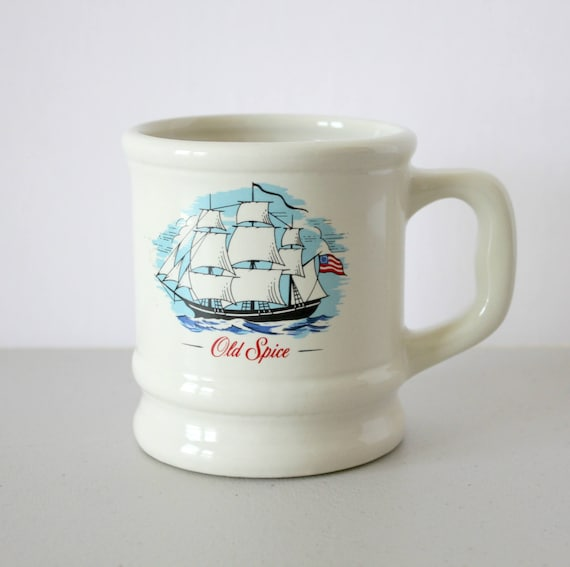 Vintage Old Spice Shaving Mug, 1960s Shave Cup, Grand Turk Sailing Ship Vessel