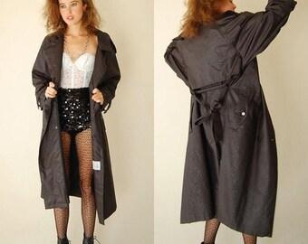 SALE 25% off sundays Draped Spy Trench Coat Vintage Black Indie Urban Glam Oversized Spy Rain Trench Coat (m l xl)