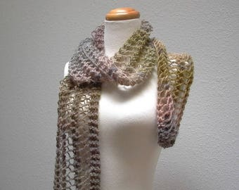 mossy rock.  mohair knit scarf . handknit lace scarf . sustainable knitwear . heathered grey brown olive green . ethereal earthy scarf