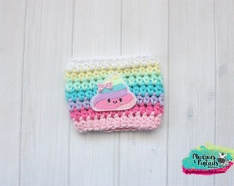 Emoji Coffee Cozy { Pastel Rainbow Poo } unicorn poop, emoji party favors, crochet cup sleeve, knit mug sweater coffee sleeve glitter cups