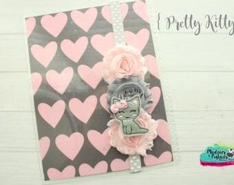 Planner band { Pretty Kitty } princess pearls, animal lover, gray cat pastel, polkadot pink, spring band, bible band, baby headband