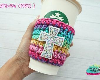 Crochet cup cozy { Rainbow Cross } faith, glitter watercolor, gold, knit mug sweater, stocking stuffer, faith, bible journaling, study