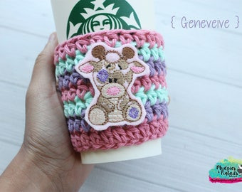 Crochet Striped { Genevieve } pastel, zoo animal Coffee cozy, cup sleeve, mug sweater cozy, tea cozy, planner girl, teacher gift zoo