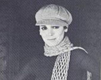 Vintage Crochet Pattern Newsboy, Womens Hat, Womens Vintage Crochet Pdf - EMail Delivery