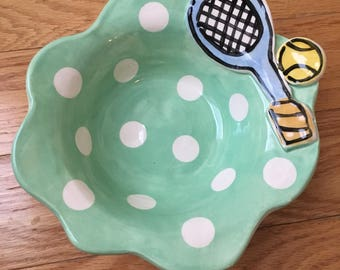 Handmade pottery polka dot tennis gifts bowl by Artzfolk team gift award personalized name
