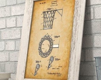 Basketball Net Patent - 11x14 Unframed Patent Print - Great Gift for Basketball Fans, Basket Ball Players or Boy's Room Decor