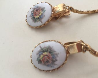 Vintage Porcelain Hand Painted rose Flower Gold Tone Sweater Guards Clips