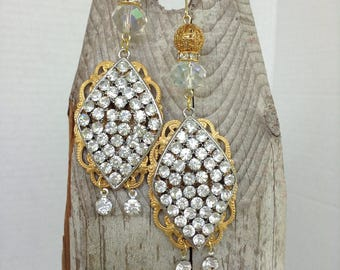 Gorgeous rhinestone and brass earrings