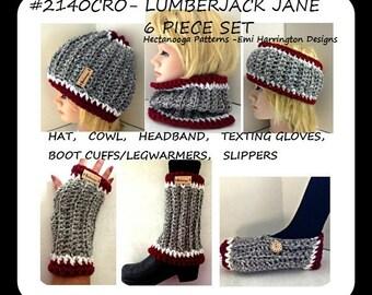 Crochet hat pattern, crochet cowl, crochet headband, boot cuffs, legwarmers, texting gloves, slippers, 6 piece set, #2140CRO