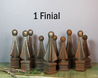 Metal Gate FINIALS- Yard Ornament Fence Post- Architectural Salvage Finial Farmhouse Decor- Industrial Decorative Topper- M2
