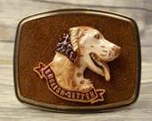 English Setter Belt Buckle Raintree 1979 Brown Suede Dog Breed Breeder Vintage