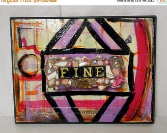 Fine Mixed Media Altered Folk Art Collage Found Object Pink Abstract Reclaimed Wall Decor