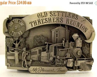 Mt Pleasant IA Belt Buckle 1983 Old Settlers And Threshers Reunion For The Love of Trains