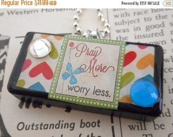 Pray More Worry Less Heart Collage Domino Necklace Pendant Reclaimed Mixed Media Art