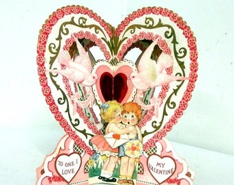 Pink Heart and Doves standing antique Valentines Day card  - R