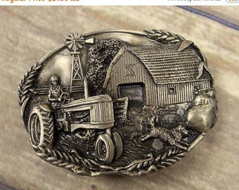 Farmer Tractor Belt Buckle Farm Barn Windmill Dog Vintage 1981 Wheat Ranch USA