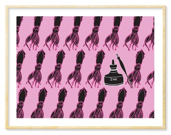 Squid Art Print, Pen and Ink, Black and Pink, Funny Art Print, Pink Print, Bright Art, Giclee Print,Pop Art, Quirky Home Decor, 8.5x11 Print