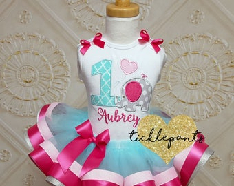 Made for all sizes and ages - Elephant Birthday Outfit - First birthday- Pink hot pink teal silver - Top and tutu set - Can be customized