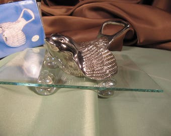 BOTTLE OPENER, shaped like a Dove, Silver plated, Vintage silverplated Bottle opener in original box, Bottle opener shaped  like a bird