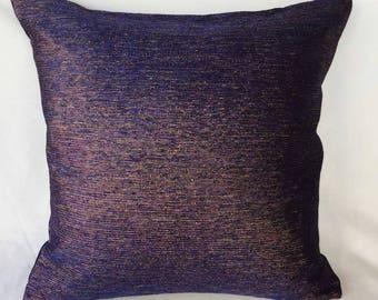 Dark blue metallic  decorative  pillow, bronze gold wi blue short metallic throw pillow cover. Midnight blue metallic cushion cover, 18inch.