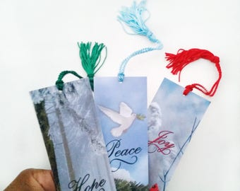 Winter Bookmark Favors - Inspirational Word Bookmarks - Nature Bookmarks - Holiday Bookmarks - Holiday Favors - Bookmark Stocking Stuffers