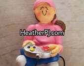 ONLY 1 LEFT! Video Game Girl Female Brunette Christmas Tree Ornament Available to Personalize.