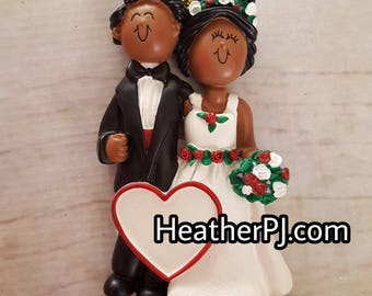 ONLY 1 LEFT! African American Black Newlywed Couple First Christmas Tree Ornament Available to Personalize.