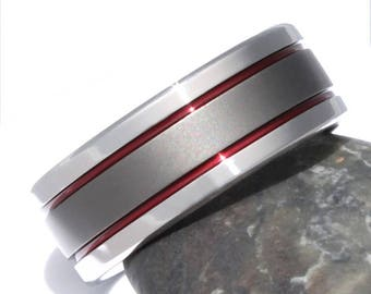 Thin Red Line Titanium Wedding Band, His and Hers Ring, Firefighter's Titanium Ring, Handcrafted Titanium Band, Red Promise Ring - sa12Red